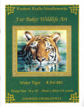 "Counted Cross Stitch Pattern-Water Tiger-J. W. BAKER WILDLIFE ART-14"" x 12"" - $9.46"
