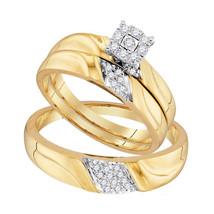 10k Yellow Gold His & Her Round Diamond Matching Bridal Wedding Ring Set - $439.00