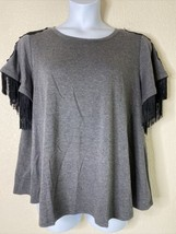 Lane Bryant Womens Plus Size 18/20 Gray Lace Fringe T-Shirt Short Sleeve - $16.83