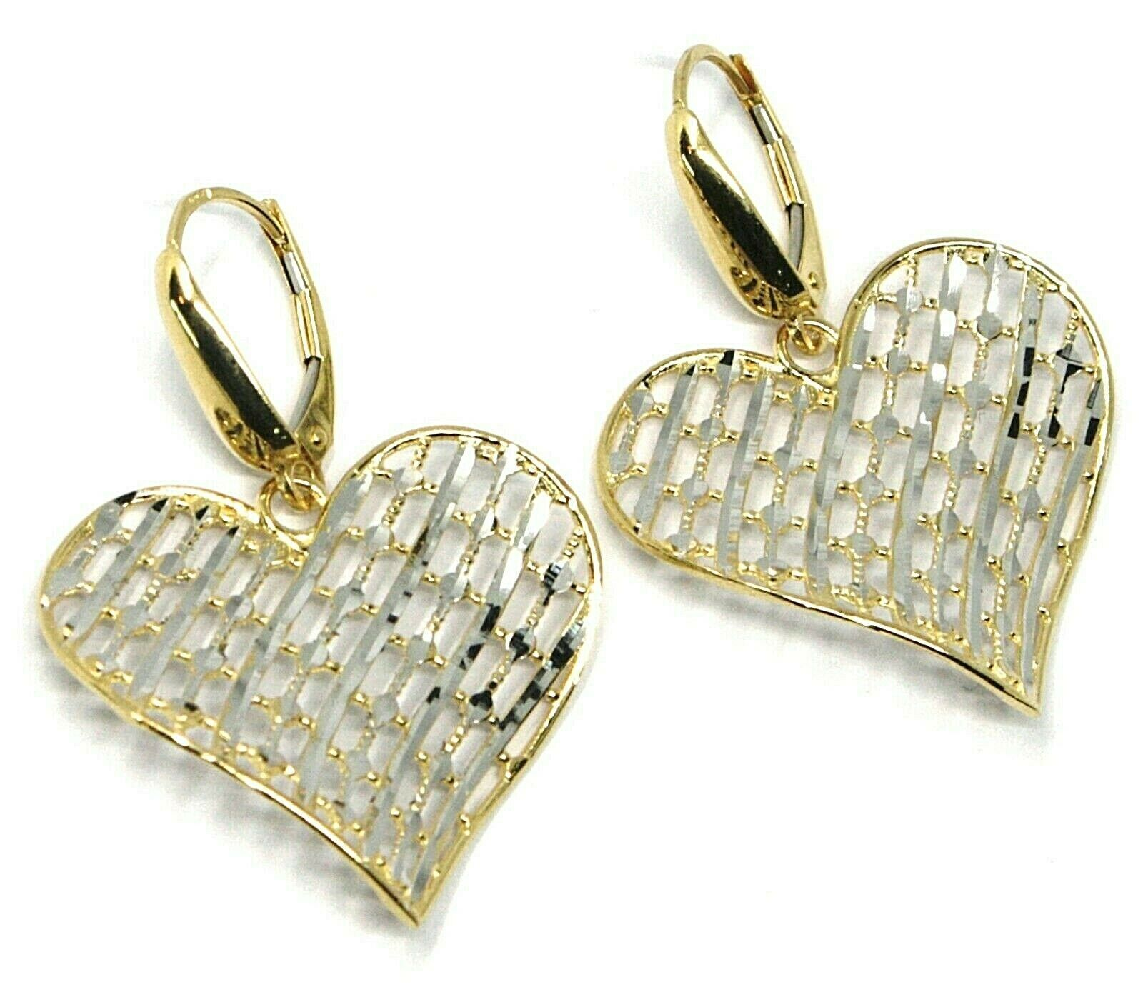 18K YELLOW WHITE GOLD PENDANT EARRINGS ONDULATE WORKED HEART, SHINY, STRIPED
