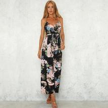 Boho Floral Print Spaghetti Strap Backless Women  Wide Leg Side Split Jumpsuit image 5