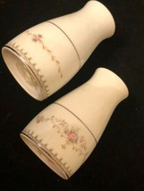 Noritake Japan Harwyn 6904 Salt Pepper Set w stoppers Silver White - $18.72