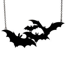 Halloween Punk Rock Cute Black Bat Pendant Necklace Gift Women Men - $7.39
