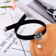 Black Velvet Crystal Flowers Water Drop Choker Necklace Wholesale Jewelry  - $7.27
