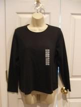 NWT $60 Charter Club Petite black l.s.  top 100% pima cotton size petite large - $18.80
