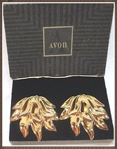RARE Vintage Avon golden flame CLIP earrings gold-tone mint condition in box - $10.00