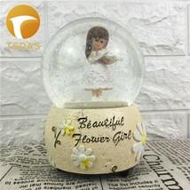 Flower Girl Crystal Rotating Music Box Desktop Decor Creative Christmas ... - £26.51 GBP