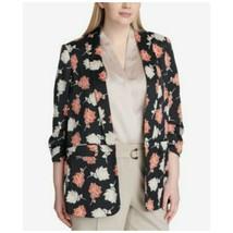 Calvin Klein Blazer Floral Print Ruched Khaki Jacket Multi Women Plus Si... - $147.51