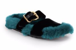 Prada Green Blue Lamb Fur Lined Slide Flat Black Velvet Strap 8US 38EU Sandal - $400.95