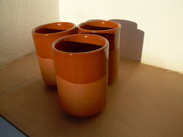 Traditional Spanish rustic pottery coffee cups , made in Europe , Spain  - $60.00