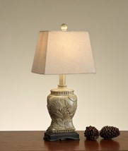 Carved Base Polyresin Table Lamp Gold Set of 2 - $115.79