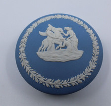Wedgwood Jasperware Light Blue Pegasus Round Trinket Box Made in England... - $26.77