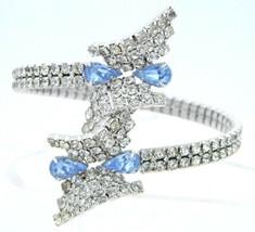 Vintage Clear Blue Rhinestone Silver Tone Wrap Bracelet - $39.60