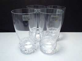 4 Mikasa Crystal Tumblers ~~~ unknown pattern ~~~ nu old stock w labels - $24.99