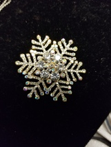 Silver Swarovski Crystals Snowflake Brooch Pin - $17.99