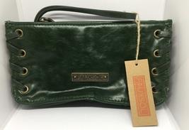 Fauxsol Green PU Leather Wristlet w/Grommet Trim - NWT