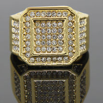 14K Yellow Gold Plated Round Cut Simulated Diamond Men's Engagement Ring - $111.99