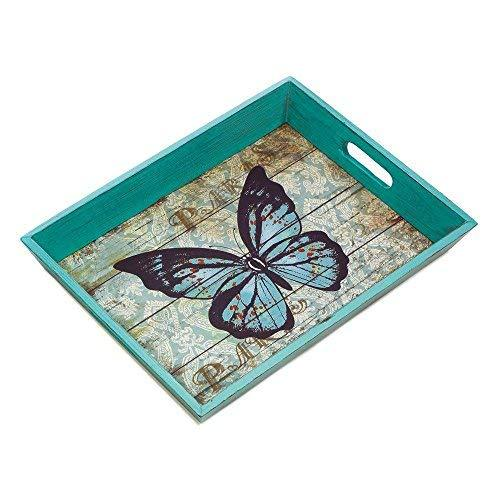 Breakfast Tray Decor, Blue Butterfly Serving Small Modern Flat Bed Tray Breakfas