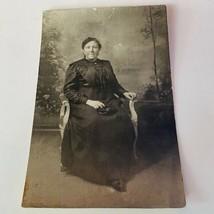 Cabinet card photograph antique ephemera photo picture vtg 1800s woman m... - $16.34