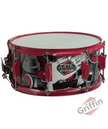 """Snare Drum by GRIFFIN - Birch Wood Shell 14""""x6.5"""" with Custom Graphic Wr... - $59.95"""