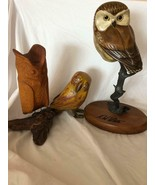 Mixed Lot 3 Wooden Owl Vintage Figurines - $79.19