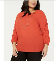 New $65 JM Collection Hot Red Pick Up Sleeves Blouse Shirt Top 2X  *NO NECKLACE* - $33.78