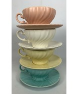 SET OF 4 Vintage CUPS & SAUCERS FRANCISCAN WARE CORONADO SWIRL 4 Colors ... - $19.79