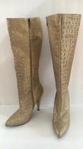 Colin Stuart Gold Reptile Snakeskin Leather High Heeled Platform Knee Bo... - $41.14