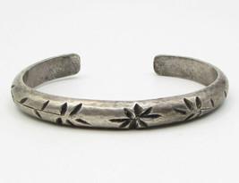 925 Sterling Silver - Vintage Antique Floral Engraving Cuff Bracelet - B... - $134.35