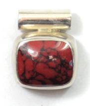 Sterling Mexico Red Jasper Oval Loaf Domed Black Vein Slide Pendant 22mm... - $26.15 CAD