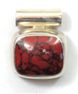 Sterling Mexico Red Jasper Oval Loaf Domed Black Vein Slide Pendant 22mm... - $19.79