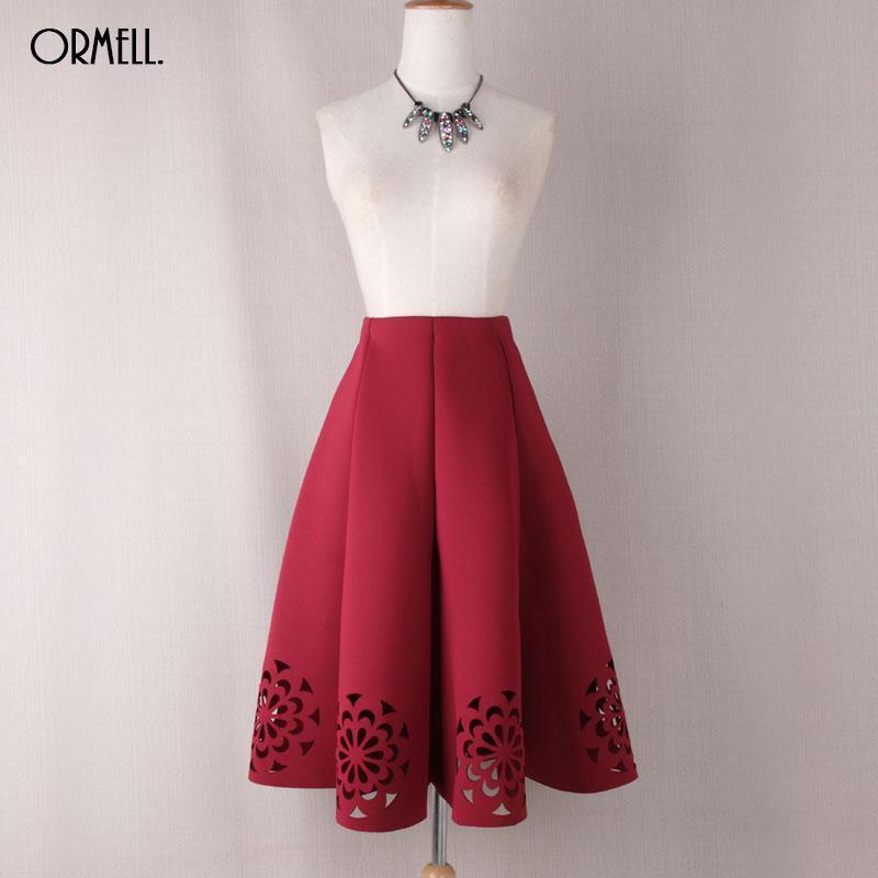 Elegant Vintage Floral Crochet Black White Red Women High Waist A Line Zipper Su