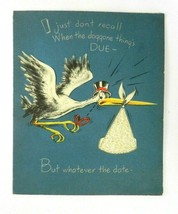 Vintage American Greeting Birthday Card Stork Rabbit Diecut Loop Fabric ... - $12.86