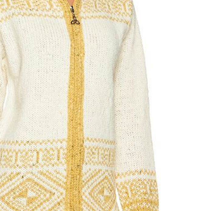 Primary image for Aran Craft Wool Long Intarsia Zip Hoodie , Natural , Size XXS , MSRP $144