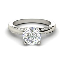 1.10Ct Round Cut Gorgeous Diamond Solitaire Engagement Ring 14K White Go... - $87.28