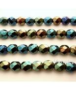 25 6 mm Czech Glass Fire Polished Beads: Iris - Green - $1.64
