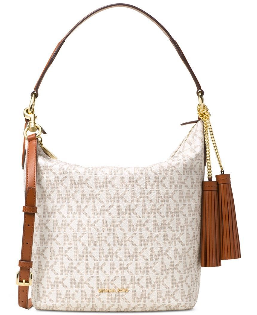 3e2b240d4156 S l1600. S l1600. Previous. Michael Kors Elana Large East West Convertible  Shoulder Bag Tassel Logo Vanilla