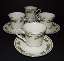 4 Centurion Collection Holly Holiday Cups & Saucers White Red Green Porc... - $39.59