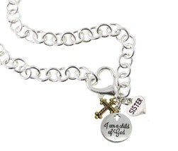 Custom I Am a Child of God Family Charms Silver Heart Clasp Necklace Jewelry - $14.87