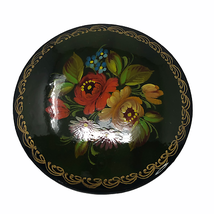 Vintage Hand Painted Wood & Lacquered Brooch Floral Flowers Gold Leaf   - $49.50