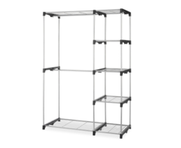 Double Rod Closet Hanging Organizer Freestanding Silver / Black Garments... - $50.95