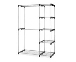 Double Rod Closet Hanging Organizer Freestanding Silver / Black Garments... - $50.95