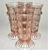 4 Imperial Pink Depression Glass Beaded Block Bud Vase Footed Jellies Vintage - $99.00