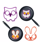 2Pcs/Set Owl Rabbit Shaped Non-stick Silicone Mold Pancake Rings Omelett... - $10.29