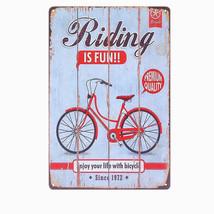 Riding Is FUN Vintage Metal Tin Signs Cafe PUB Home Decor Wall Metal Pla... - $5.98