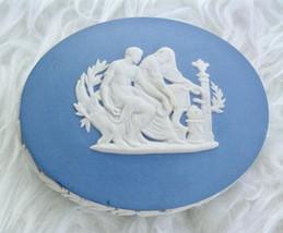 Wedgwood Blue Jasperware Trinket Box Sacrifice to Asclepius God of Medicine  - $25.00