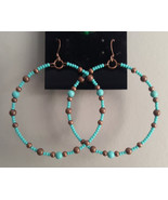 Turquoise & Copper Beaded Silver Hoop Hook Earrings Native American Made... - €8,78 EUR