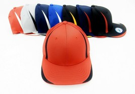 6 Panel Baseball Cap, Solid Colors With Accent Strips, S/M or L/X, FlexF... - $8.95