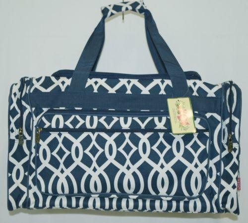 NGIL BIQ423NAVY Geometric Vine Print Canvas Duffle Bag Colors Navy and White