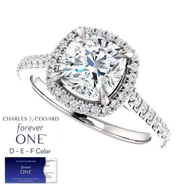 2.50 Carat Cushion Moissanite (Forever One) & Diamond Halo Style Ring in 14KGold